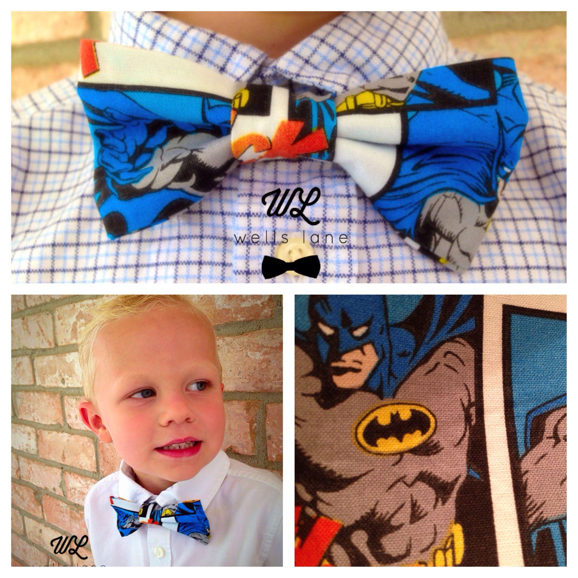 "The ""Batman"" Boys Adjustable Bow Tie. www.etsy.com/shop/WellsLane  Follow me @ www.facebook.com/wellslanebowco"