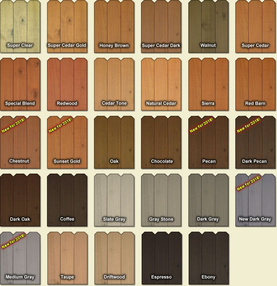 Fence And Deck Stain Colors With