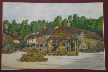 Castle Combe Centre, Acrylic Paintings, Jeff Gibbons, SAA Professional Members' Galleries