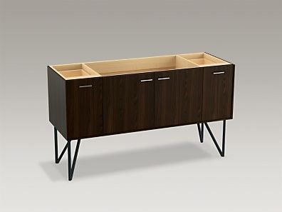 Jute 60 Vanity Base With Furniture Legs 2 Doors And Drawers Split Top Drawer
