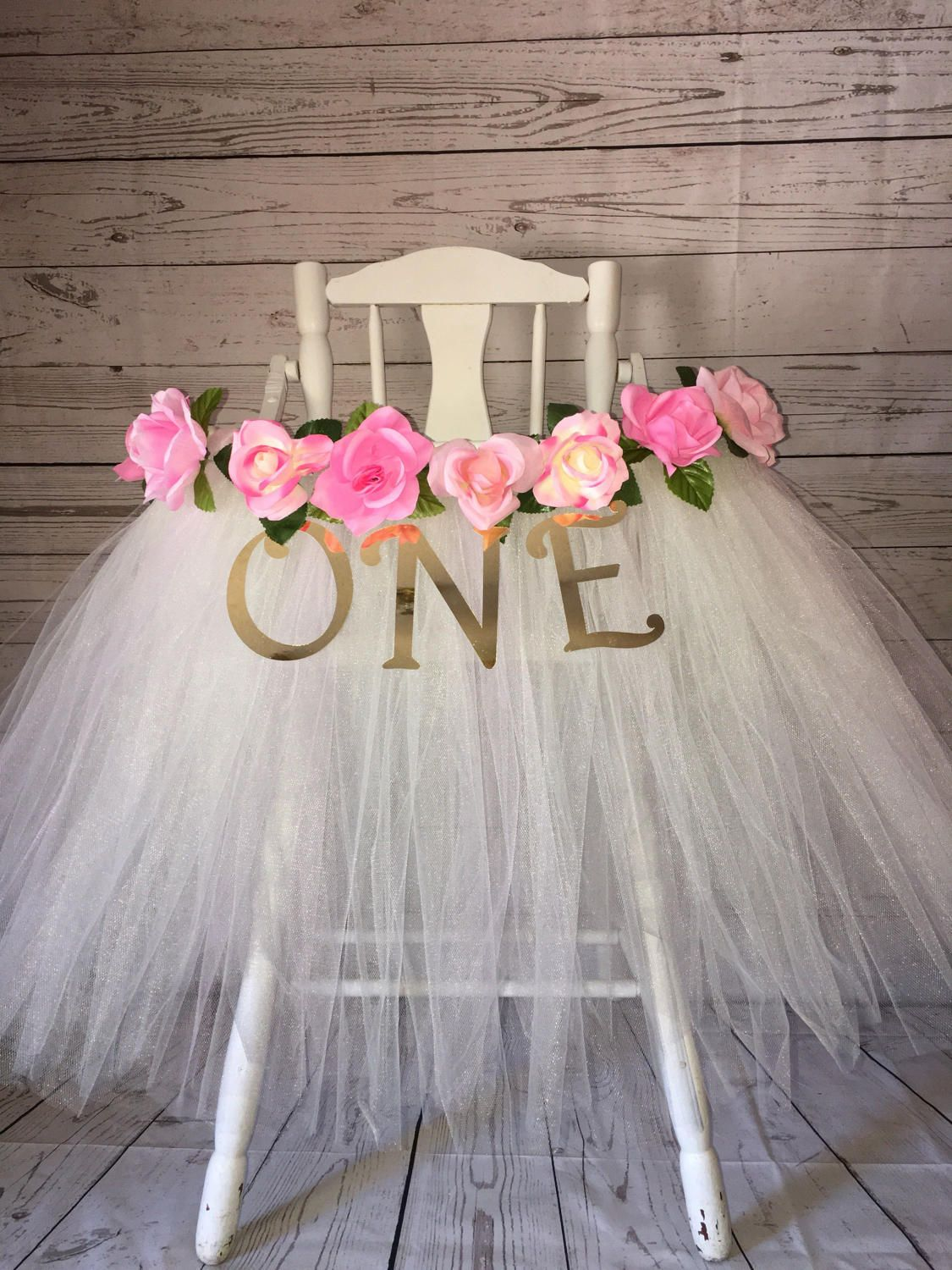 High Chair Tutu High Chair Skirt Ivory And Pink Highchair Etsy Baby Girl 1st Birthday Girls Birthday Party Baby Girl First Birthday