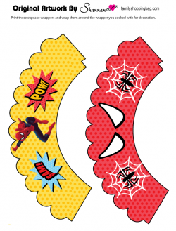 Gutsy image within free printable cupcake wrappers and toppers with spiderman