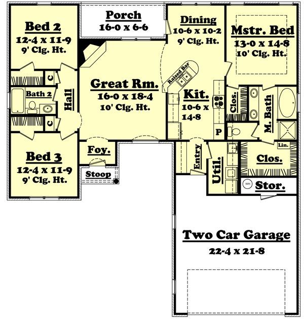 1600 Square Foot House Plans | 1600 Square Feet, 3 Bedrooms, 2 Batrooms, 2  Parking Space, On 1 Levels .