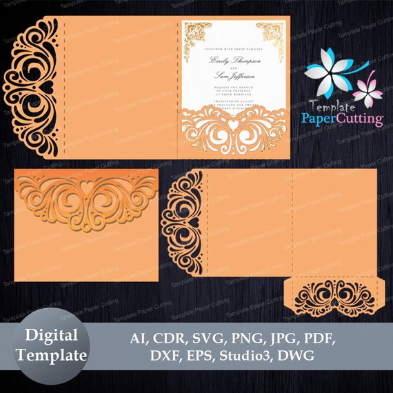 Tri Fold Wedding Invitation Pocket Envelope Svg Template Quinceanera Invi Tri Fold Wedding Invitations Wedding Invitation Envelopes Pocket Wedding Invitations