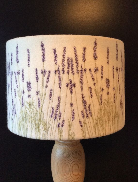 Lampshade Embroidered Lavender Lighting 30cm Diameter Etsy Lampshades Rawhide Lampshades Lamp Shades