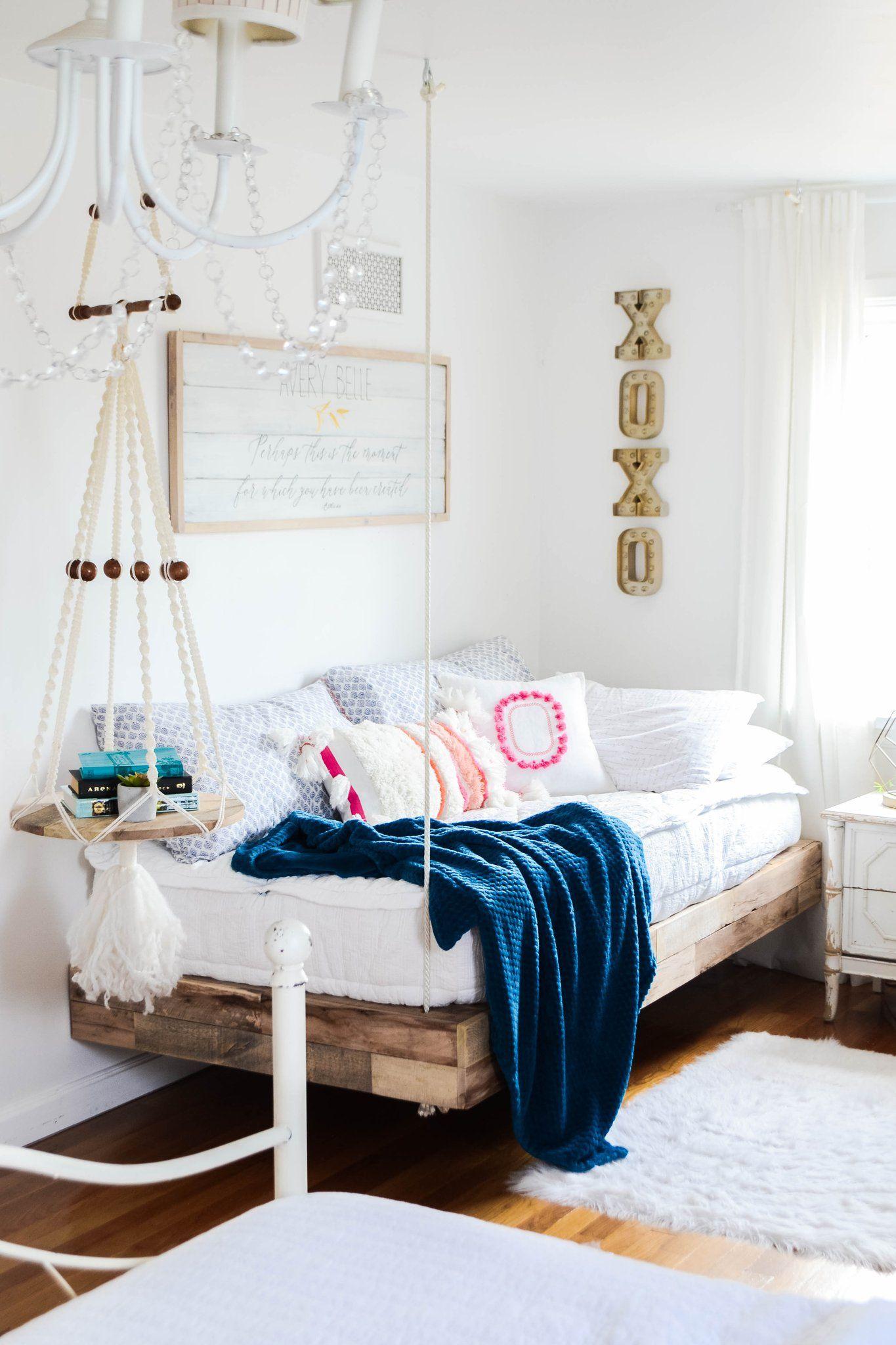 Girls Room Refresh With Diy Hanging Bed Girls Room Decor Bedroom Diy Decor