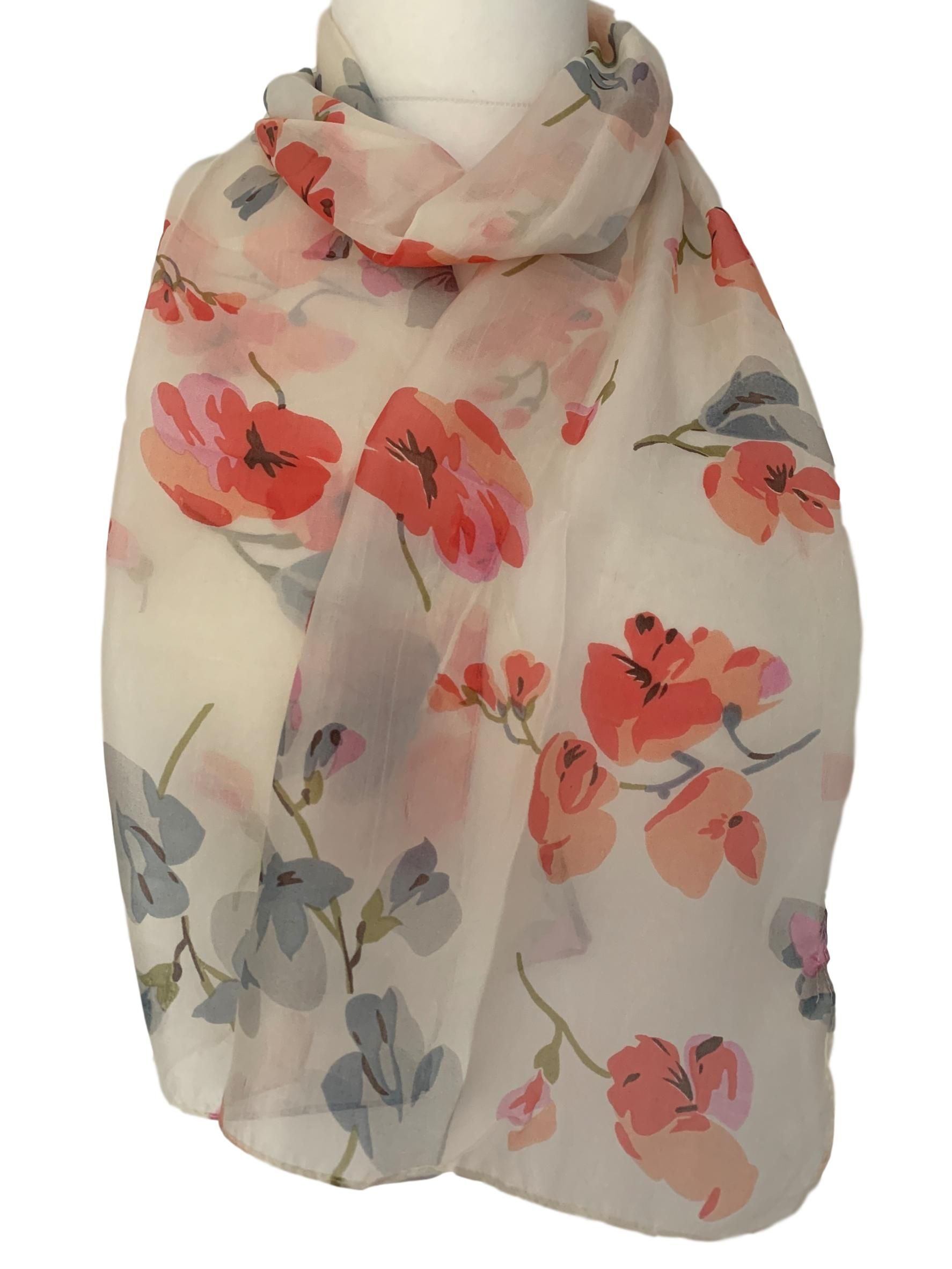 Cream Silk Scarf Pink Grey Floral 100 Pure Silk Ladies Flowers Flower Print In 2020 Grey Floral Pure Silk Scarf Cream Silk