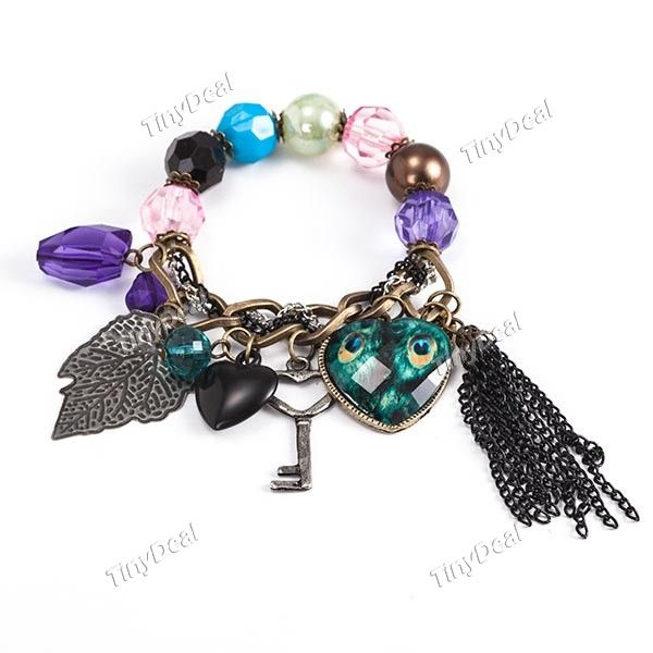 Elastic Vintage Metal Bracelet Hand Chain Wrist Ornament Jewelry with Pendants & Colored Beads Decor for Woman WNL-44333
