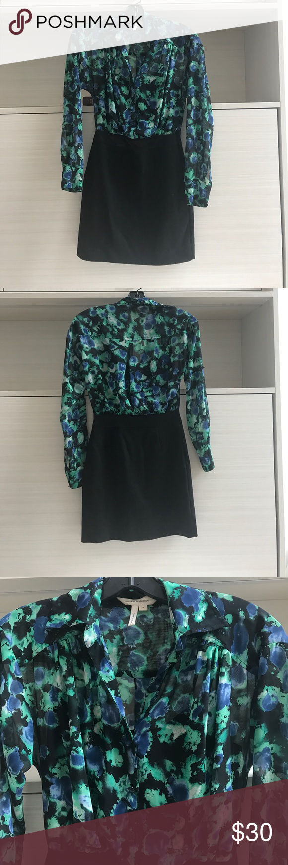 Business pencil skirt and sheer flower blouse Slimming business dress. Black shirt attached on inside of outside sheer long sleeve flower blouse. Side zipper and two buttons to easily slip and out of. BCBGeneration Skirts Pencil