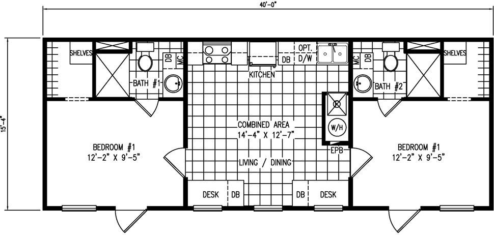 16 X 40 Floor Plans For 2 Br Mobile Home Floor Plans Tiny House Floor Plans Cabin Floor Plans