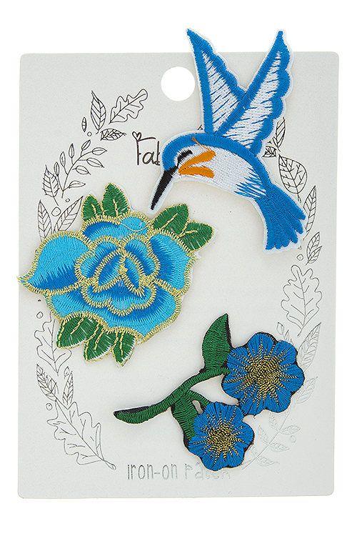 Colibrí azul bordado hierro-en remiendo apliques conjunto de flor ...