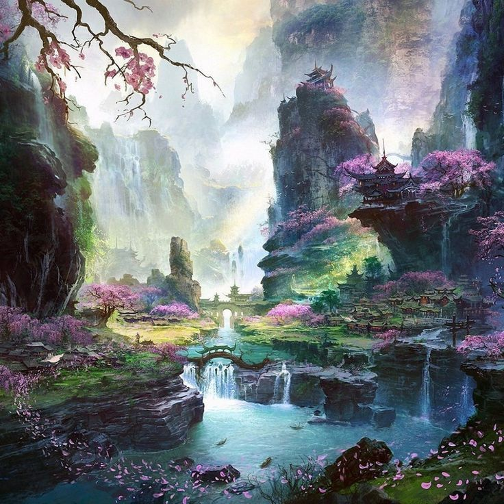 artwork bridges cherry blossoms fan ming fantasy art landscapes mountains waterfalls pictures and images - Japanese Garden Cherry Blossom Paintings