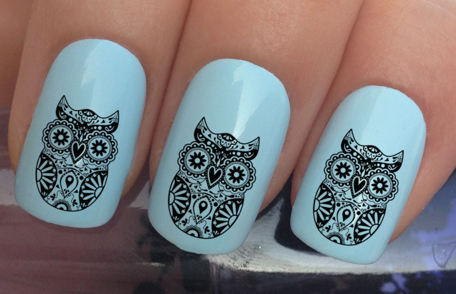 nail decals #374 day of the dead sugar skull black owl water ...