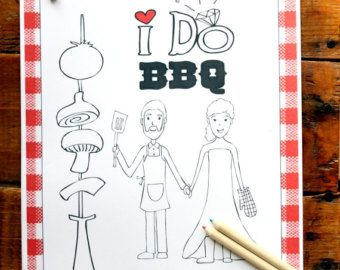 Wedding Coloring Book - I Do BBQ - Personalized Wedding Coloring ...