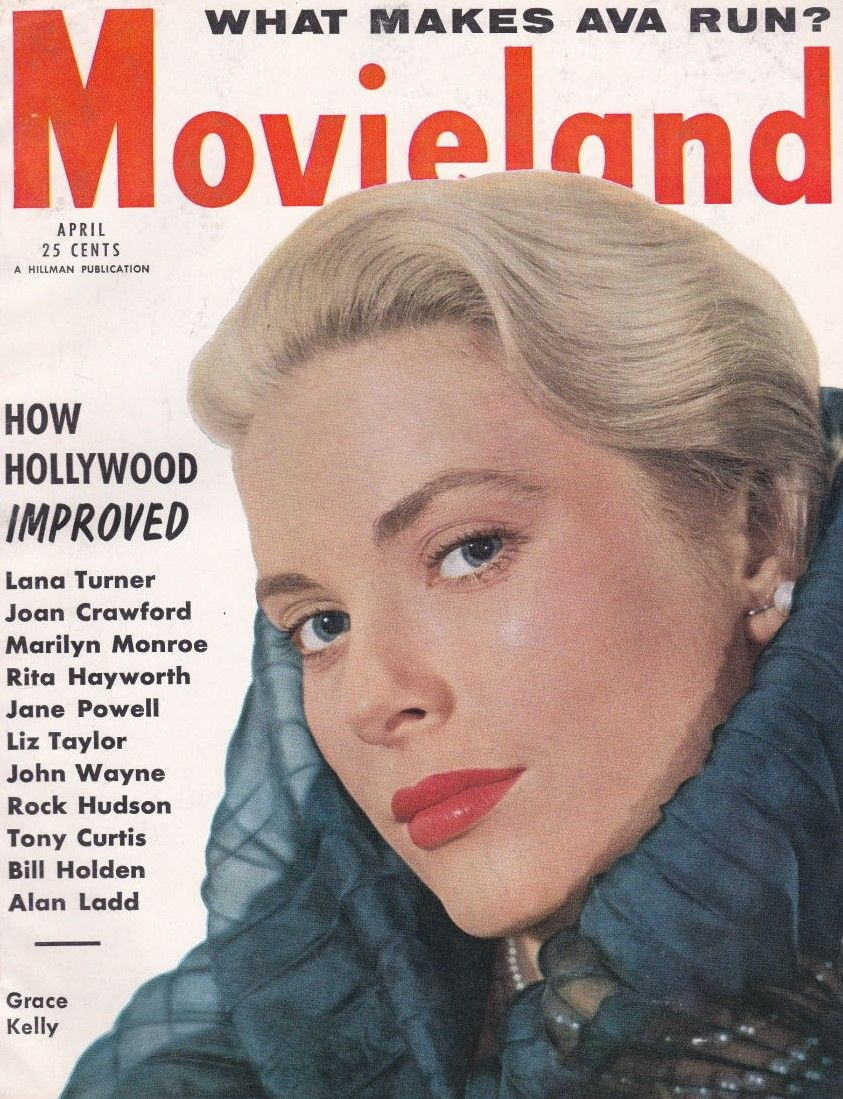 """Grace Kelly on the cover of """"Movieland"""" magazine, USA, April 1955."""