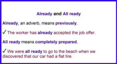 difference between already and all ready