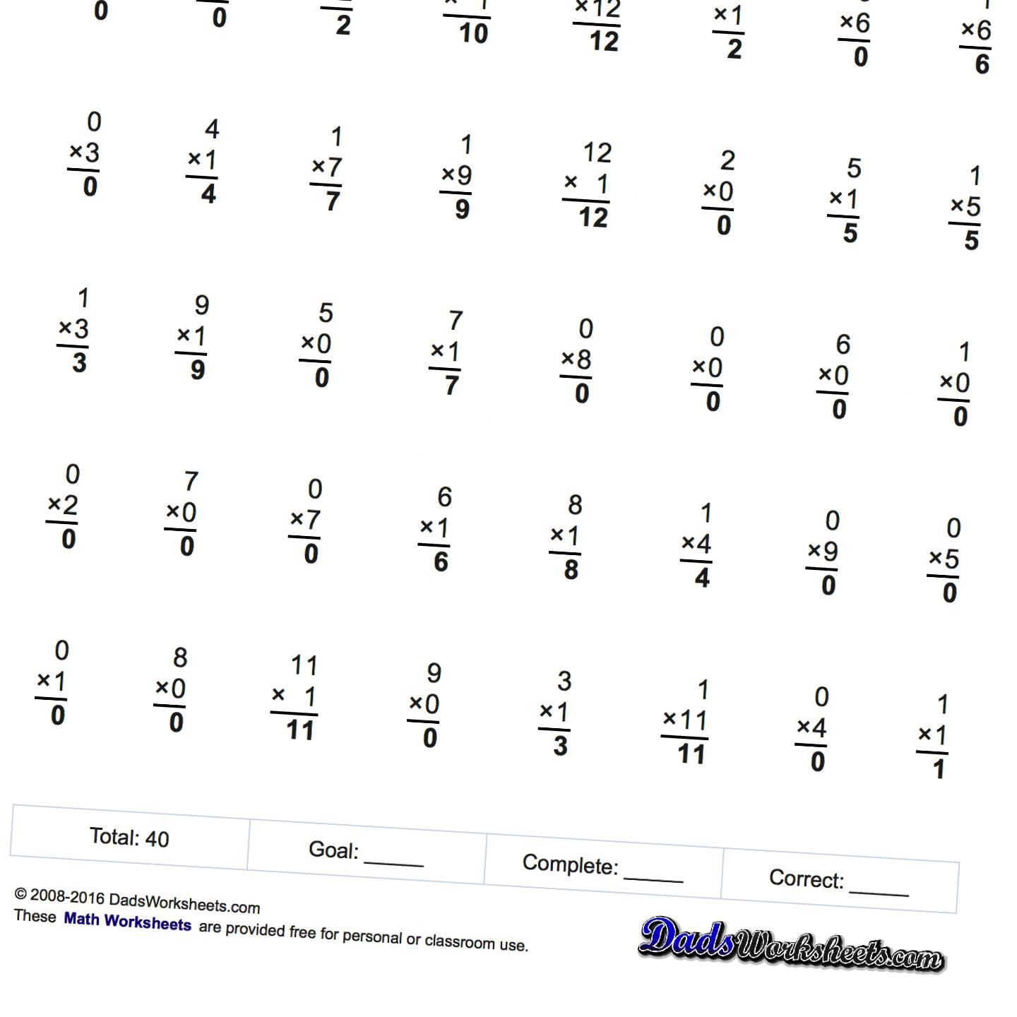 Math Worksheets Progressive Times Table Practice With X12