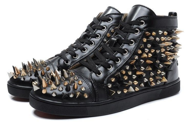 Free Shipping Wholesale Top Brand Soft Black Genuine Leather Lace-up Mens Sneakers Cool Mixed Spikes Red Sole Casual Shoes US $92.70