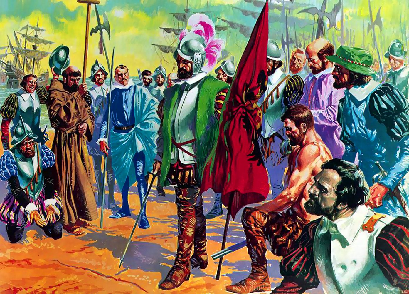 Hernando Cortes arriving in mexico in 1519