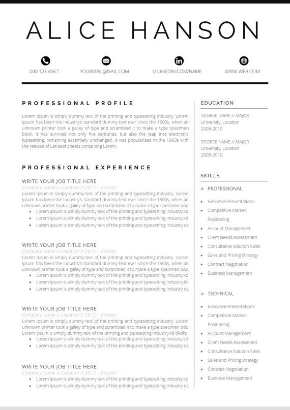 resume template    cv template   cover letter for ms word