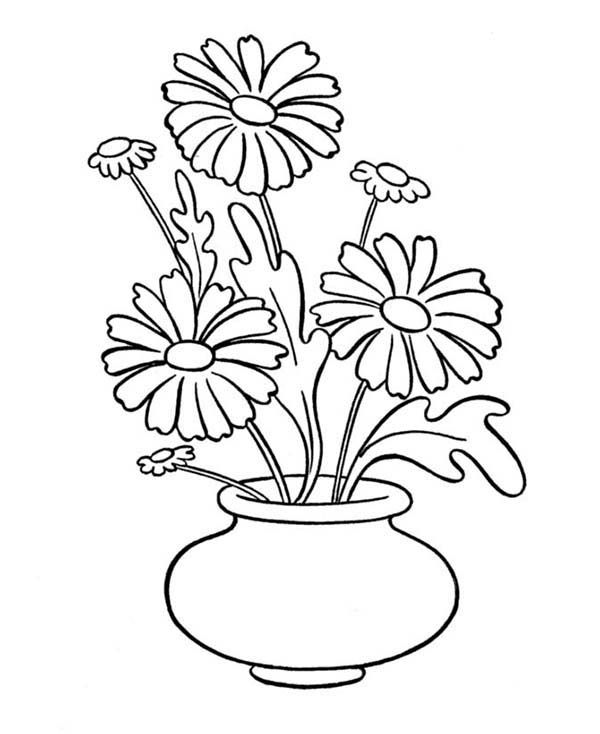 Daisy Flower In Vase Coloring Page With Images Flower Drawing