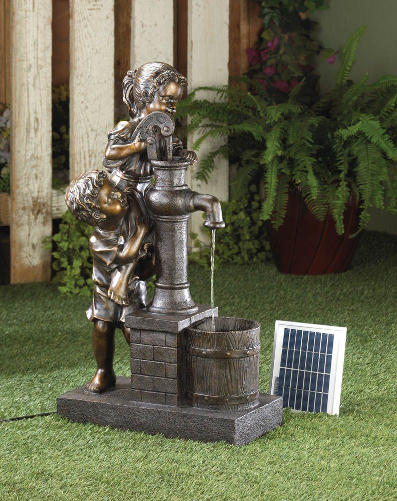 Garden water features solar power  This solarpowered water fountain features two adorable children in