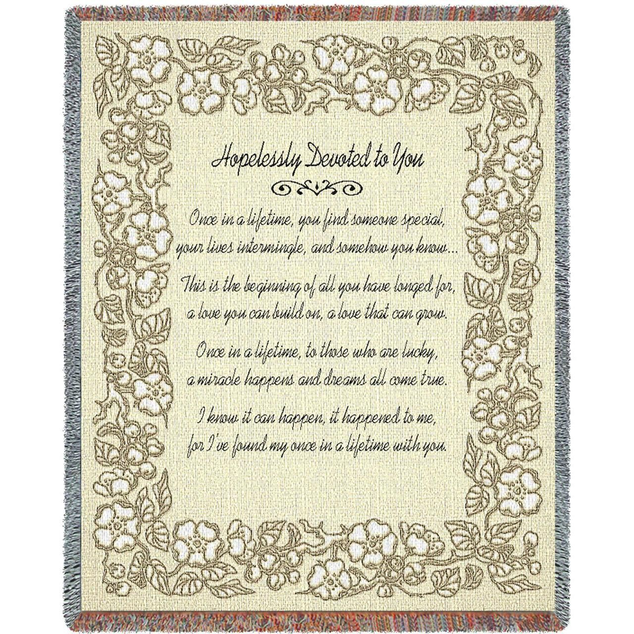 Hopelessly Devoted To You Art Tapestry Throw, Gold Anniversary