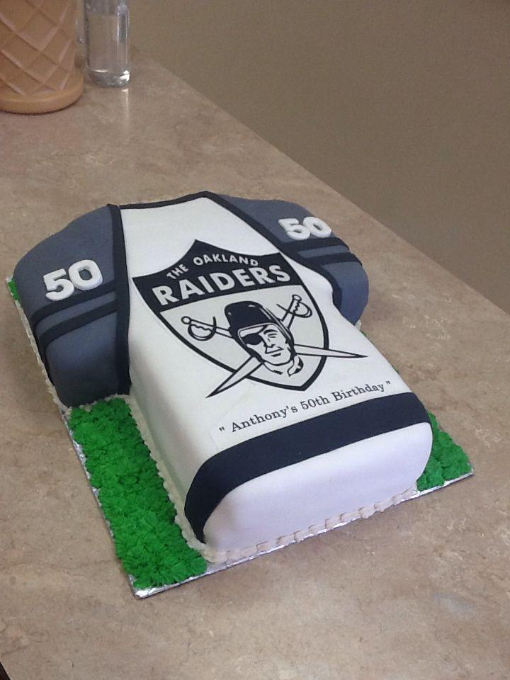 Marvelous Livay Sweet Shop Oakland Raiders Fondant Football Jersey Cake Funny Birthday Cards Online Inifofree Goldxyz