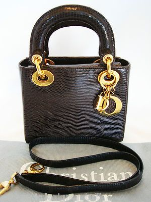 e0940fa1c79 CHRISTIAN DIOR Brown Mini Lizard Lady Dior Handbag, Shoulder Bag, RARE AND  cute.