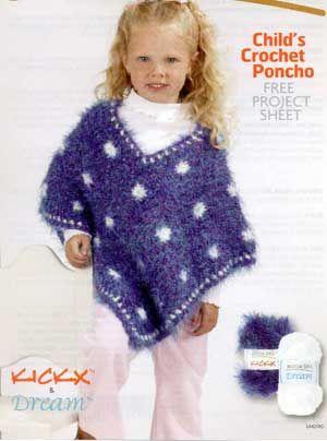 Childs Crochet Poncho Lm0190 Purple Kitty Crotchet Patterns