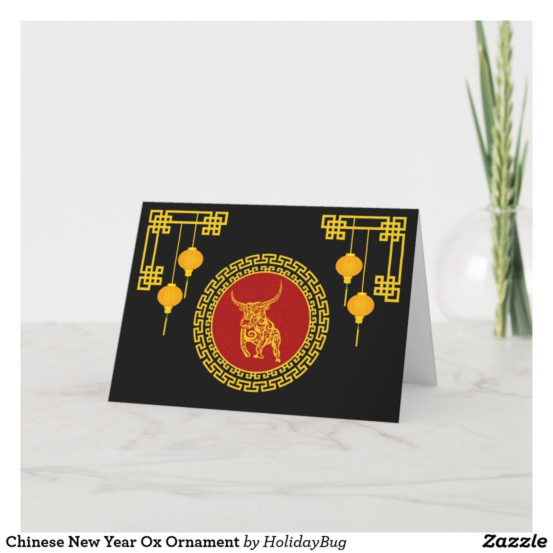 Chinese New Year Ox Ornament Holiday Card in