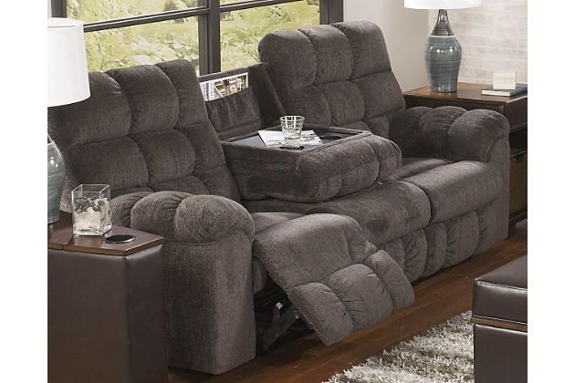 Acieona Reclining Sofa With Drop Down Table By Ashley Homestore Gray Polyester 100 Reclining Sofa Living Room Reclining Sofa Furniture