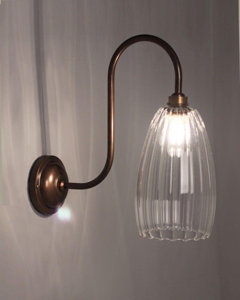 Upton Ribbed Glass Swan Neck Bathroom Light Wall Lights Glass Bathroom Contemporary Wall Lights