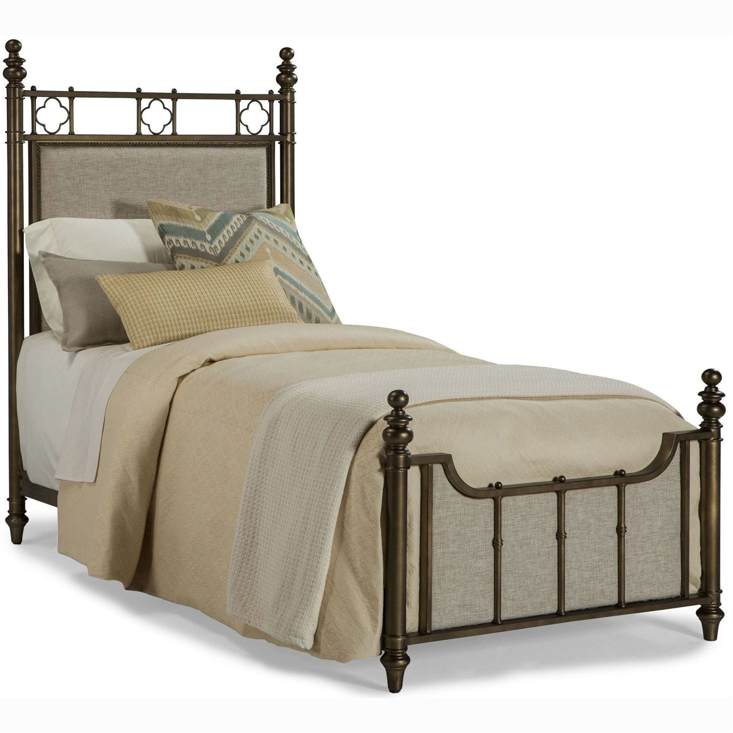 Furniture 1226 Pavilion Twin Metal Bed in Antique Brass