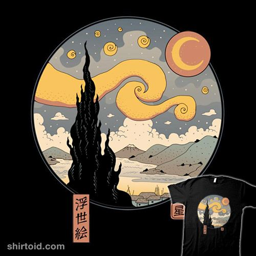 Starry Ukiyo-e Night | Shirtoid