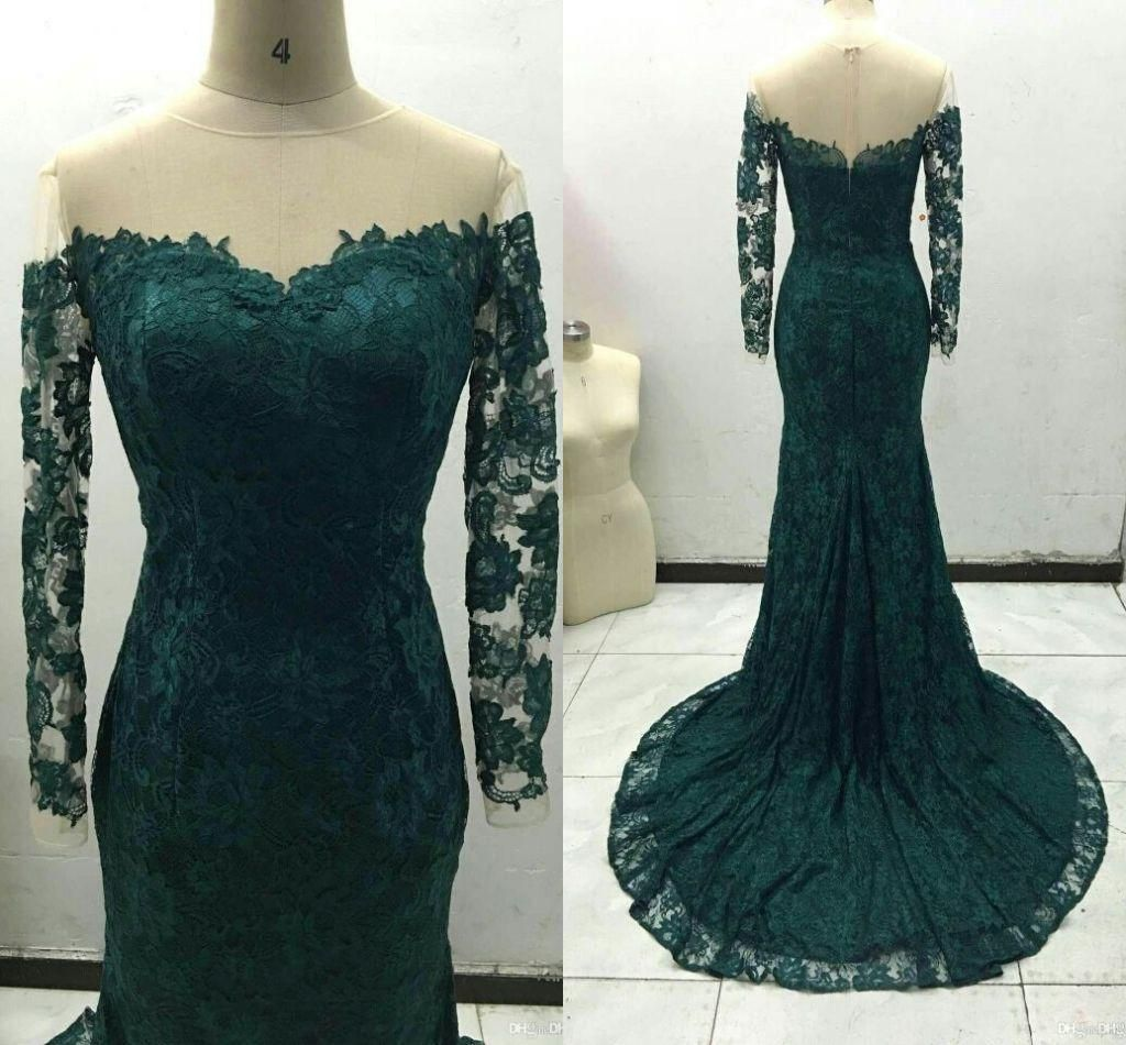 Dark green mermaid long sleeve prom dresses real picture off
