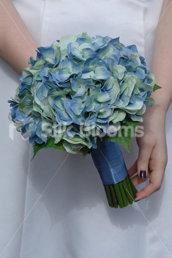 Gorgeous white blue rose thistle hydrangea wedding bouquet simple aqua blue hydrangea artificial bridal wedding bouquet mightylinksfo Images