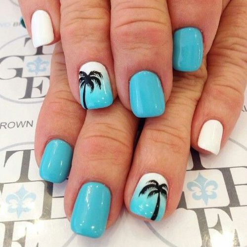 Beautiful-Cool-Blue-Black-and-White-Beach-Summer-Design-For-Short-Square- Nails Pretty Gel Nails 2018 - Summer Nails Trends Nail Art pretty Gel Nails  2018 - Summer Nails – 99 Best Summer Nails Summer Nails Pinterest