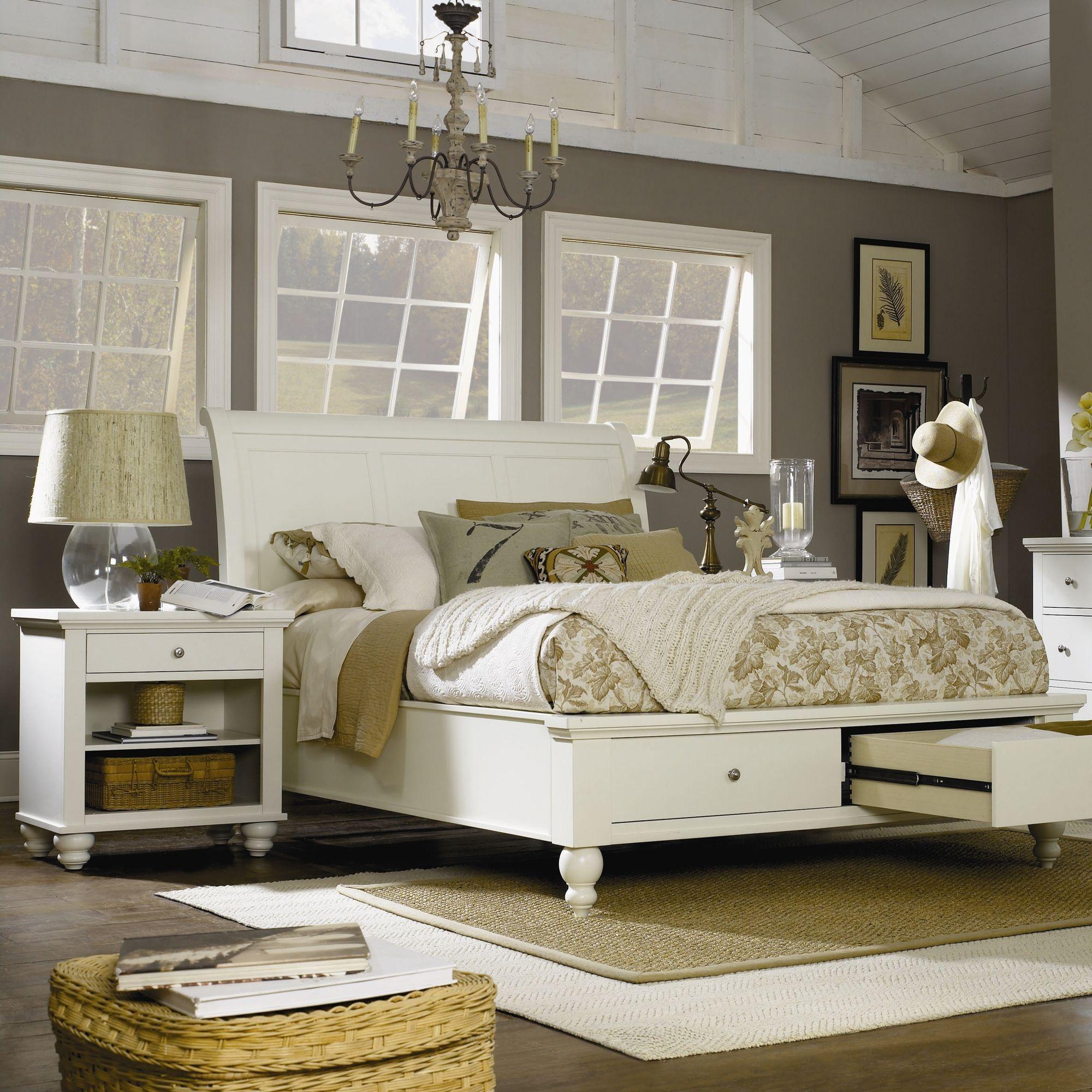 lansford park kingston storage bedroom set in eggshell white chambre ensembles de chambre king