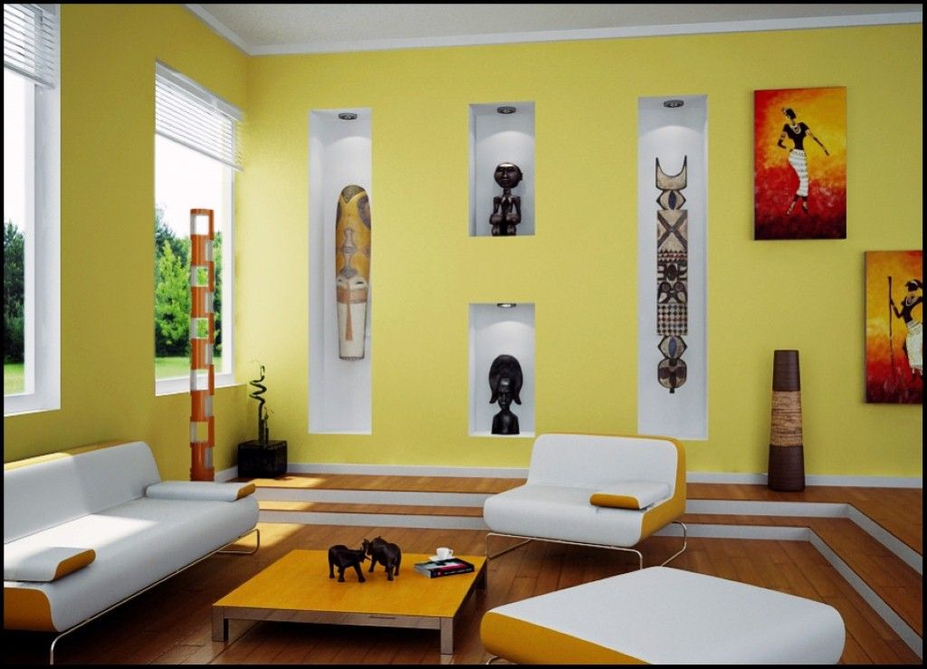 Living Room: Living Room With African Art Also Contemporary Sofa And ...