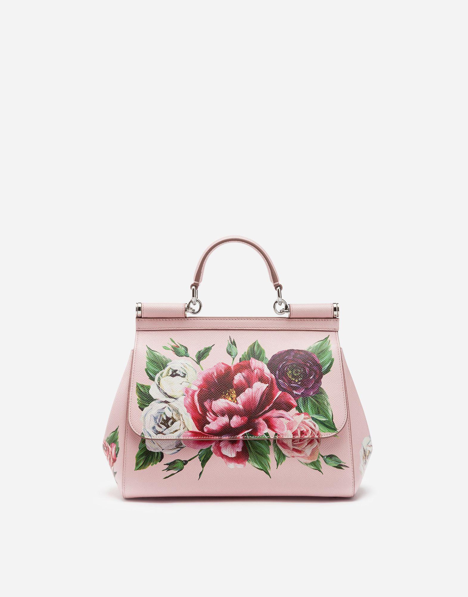 Dolce   Gabbana - Medium Sicily bag in Peony-print Dauphine calfskin  ( 2 1b0c943486a43