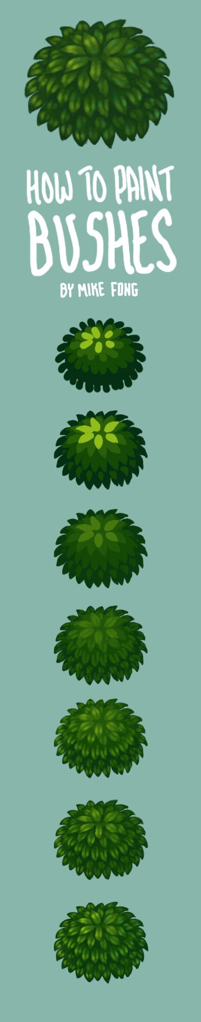 How to paint bushes by Mike Fong. Digital painting tutorial Hand painted textures low poly