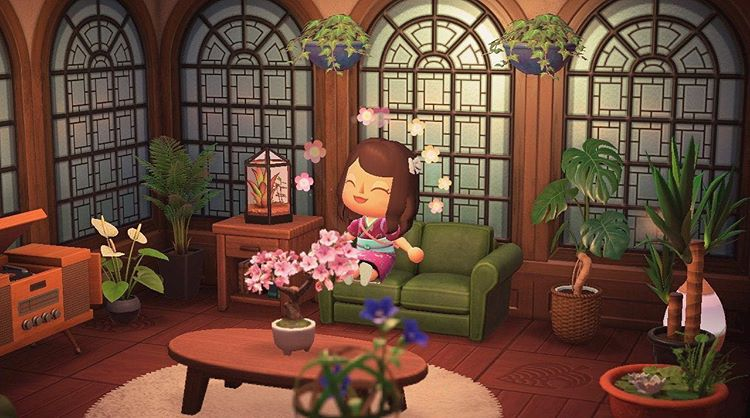 Acnh Designs Layouts On Instagram Lots Of Furniture Plants A Cozy Study Love The In 2020 Animal Crossing Characters Animal Crossing Animal Crossing Memes