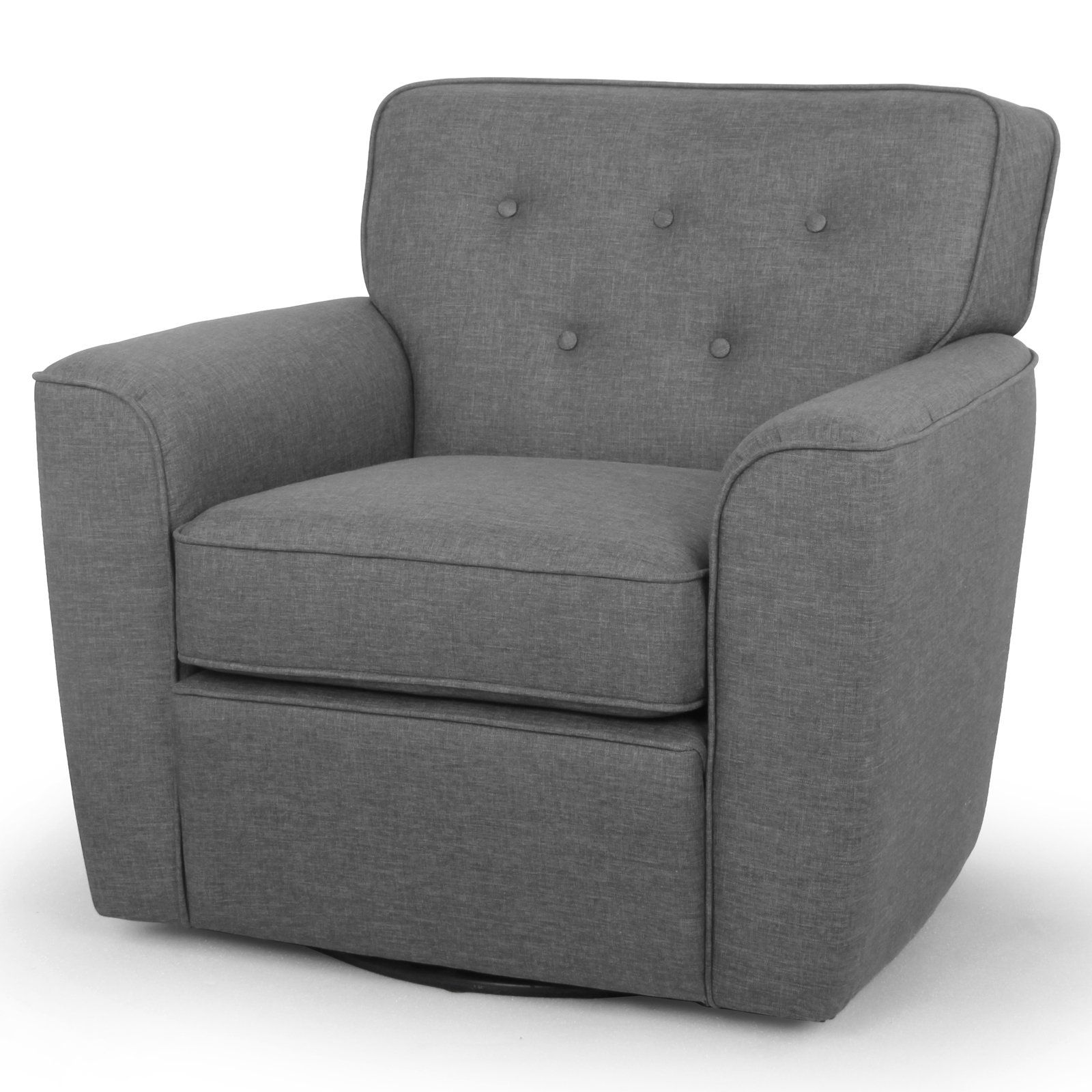Baxton Studio Canberra Lounge Chair Gray Upholstered Swivel