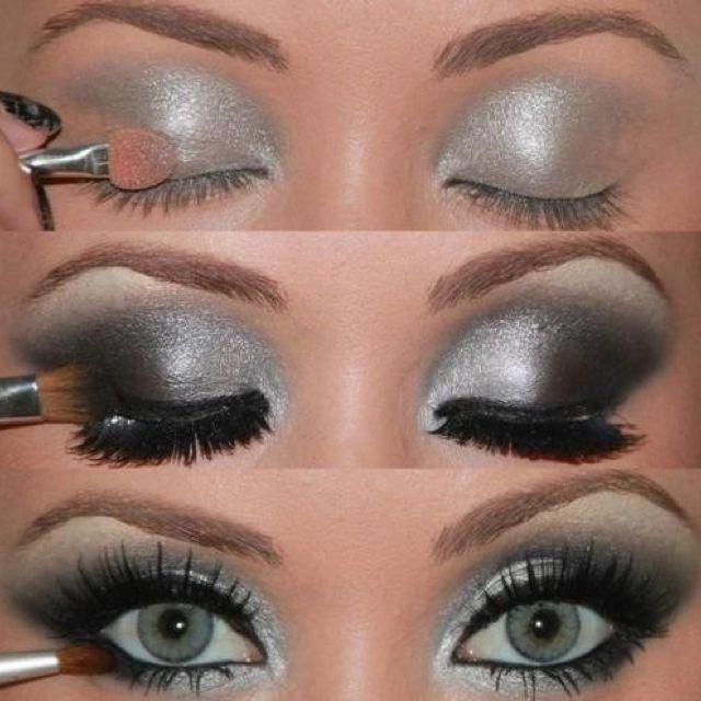 Smoky Eye! Love this silver black smoky eye.
