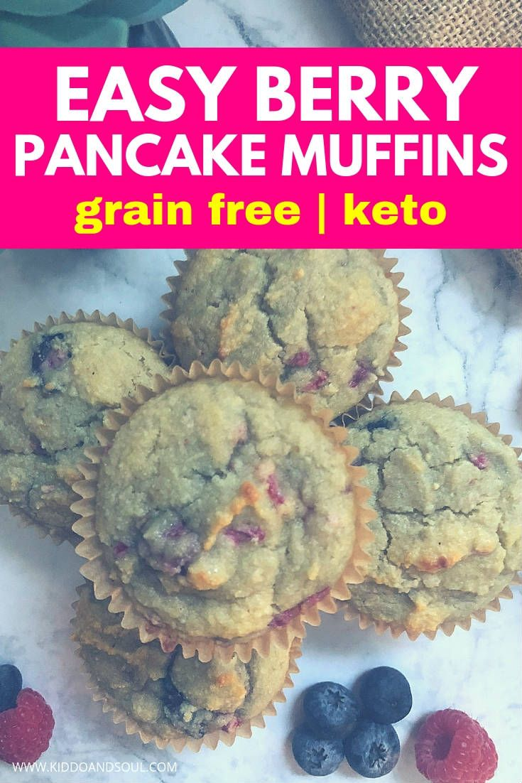 Easy Grain Free Sugar Free Berry Pancake Muffins These berry pancake muffins are super easy to make, keto friendly and sans the sugar and grains.  I am super proud of this recipe - They taste delicious and are great for meal prep!