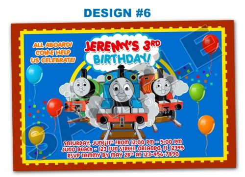 Thomas the Tank Engine Photo Birthday Party Invitations