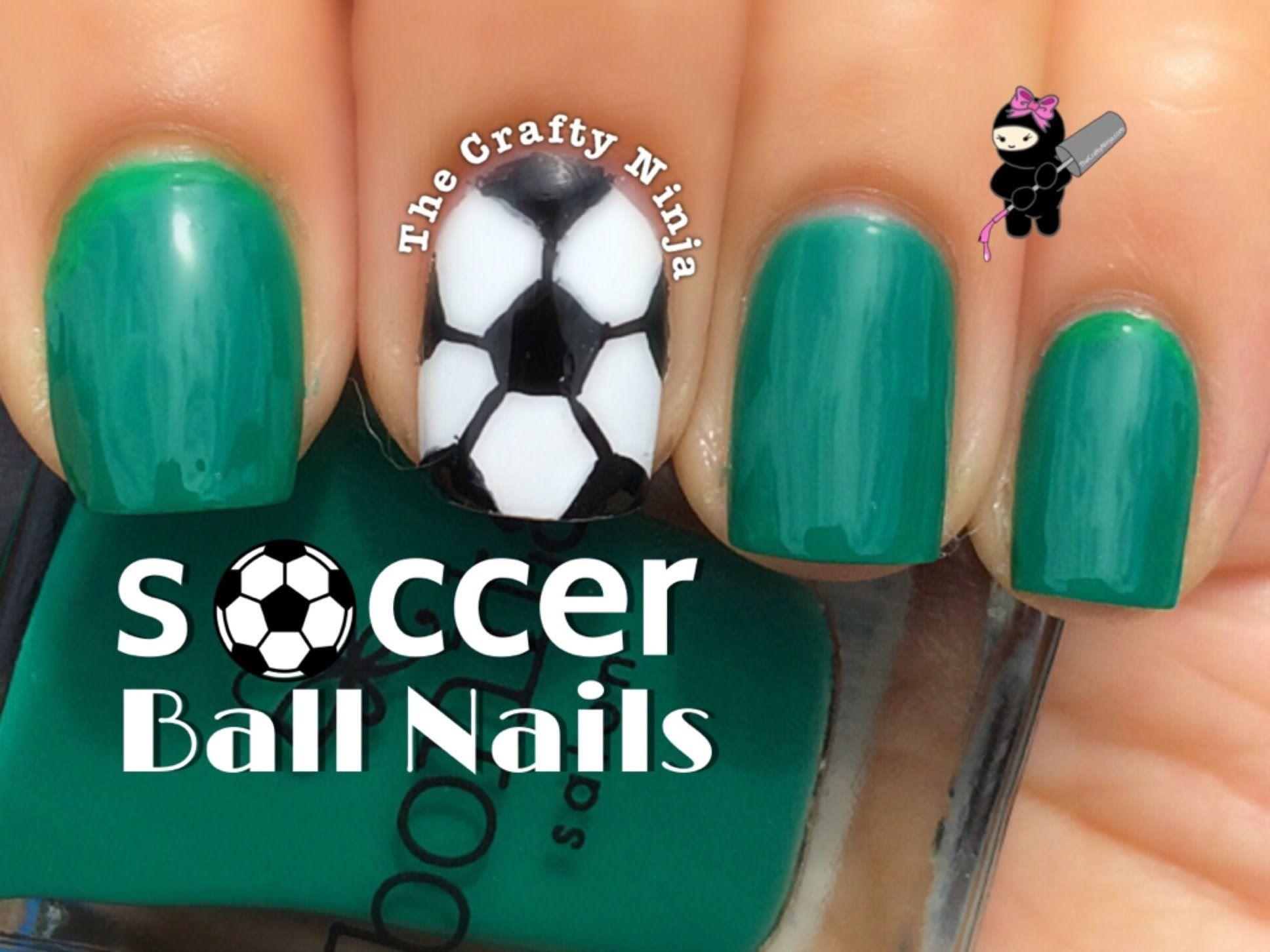 Soccer Ball Nail Art Tutorial By The Crafty Ninja Soccer Nails Sports Nails Nails