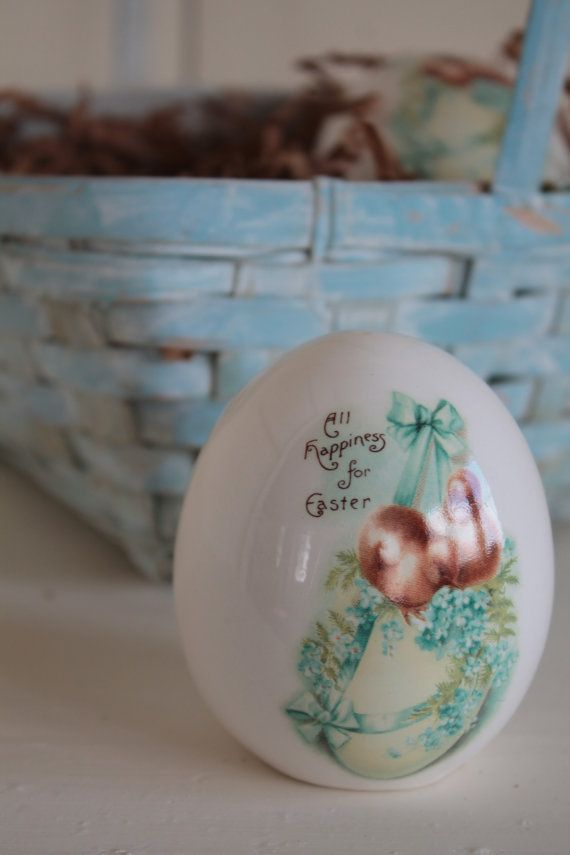Blue Painted Basket with Easter Eggs by FarmhouseSupply on Etsy