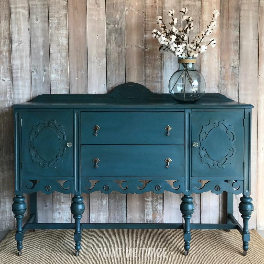 Rich And Striking Chalk Paint By Annie Sloan Finish On A Beautiful Buffet Project By Paint Me Twi Blue Painted Furniture Painted Furniture Painted Sideboard
